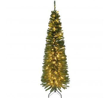 Sapin lumineux - CYPRES - 210 cm - 820 Branches - 250 LED doré - Vert