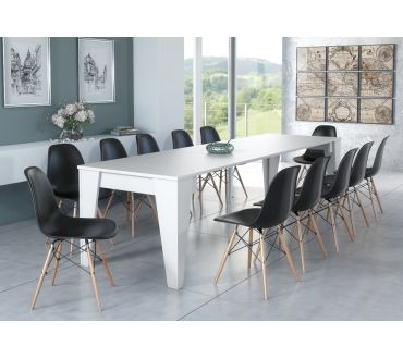 Table extensible - Blanc - 3m - 12 prs.