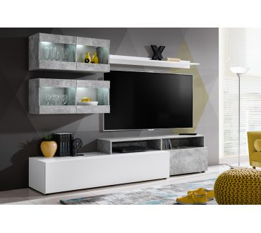 Ensemble Meuble Tv Mural Abw Light 220 Cm Blanc Et Atelier 52 De Reduction